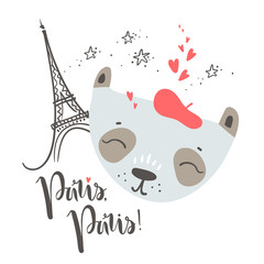 Cute French baby panda. Hand drawn vector illustration. For kid'