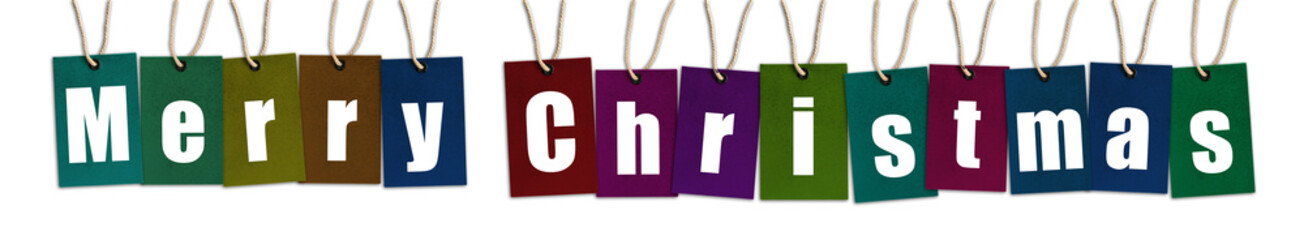 Merry Christmas text on multi color tags isolated on White Background