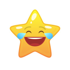Laughing tears star shaped comic emoticon. Happy face with facial expression. Joyful emoji symbol for internet chatting. Funny social communication animation. Mood message isolated vector element