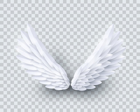 Vector 3d white realistic layered paper cut angel wings isolated on transparent background
