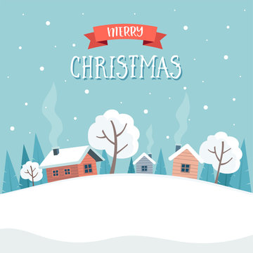 Winter landscape with cute houses and trees, merry christmas greeting card template.