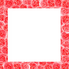 Frame of flowers roses watercolor greeting card congratulation decoration invitation holiday