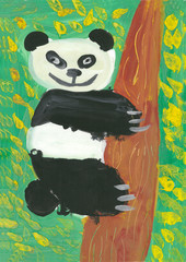 children drawing watercolor panda