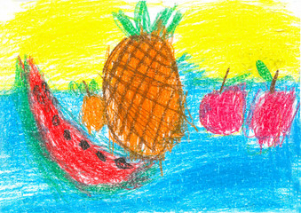 children drawing pineapple