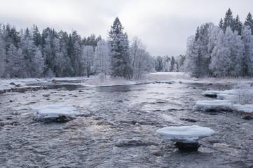 River in winter. Farnebofjarden national park in Sweden.