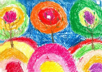 children drawing orange tree blue sky