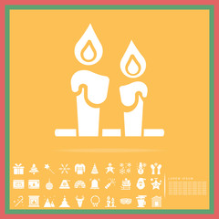 Christmas candle decoration solid icon set, vector, illustration
