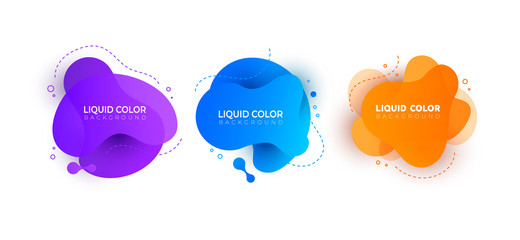 Set of minimal liquid gradient splashes. Vector design for covers, greeting card, poster or flyers.