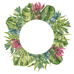 Round frame made of tropical plants - protea, eucalyptus and palms leaves, colored pencil illustration isolated on white background. Hand drawn floral frame - palm leaves and protea flower