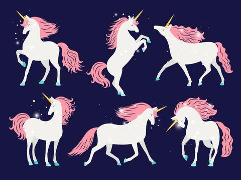 White unicorn with pink mane. Cartoon pretty unicorn horse isolated on background with rose mane for girls t-shirt design vector illustration