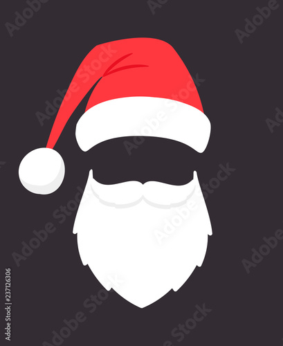 bae6d24ebe9e46 Santa claus mask. Christmas santaclaus party fashion photo face with beard,  mustache and hat