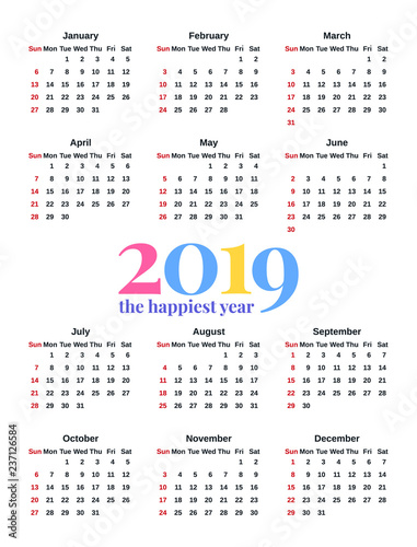 2019 calendar vector stationery 2019 year vertical pocket template week starts sunday in