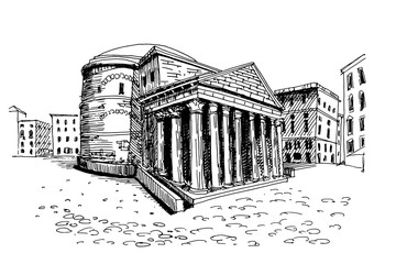 Fotomurales - Vector sketch of Pantheon. Rome. Italy.