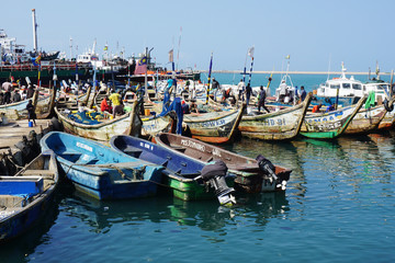 fishing boats in the ficher harbor of Lome in Togo