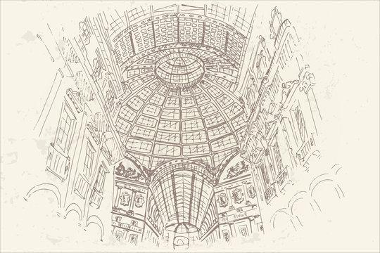 vector sketch of Gallerie Viktora shopping center in Milan, Italy.