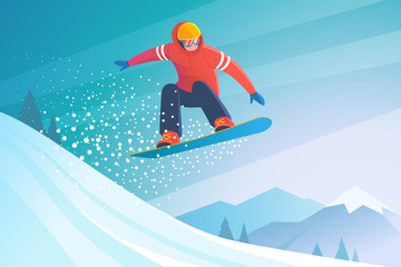Snowboarding. Vector illustration of a jumping snowboarder in trendy flat style, isolated on snow mountains background. Wall mural