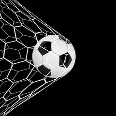 Realistic soccer ball or football ball in net on black background. 3d Style  Ball