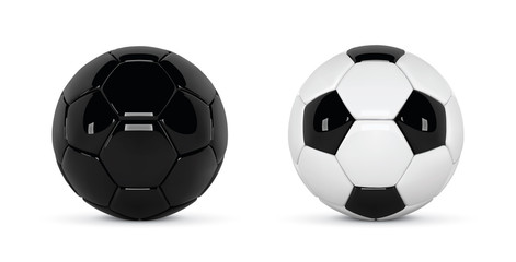 Set of 2 realistic soccer balls or football ball on white background. 3d Style  Ball isolated on white background. Soccer black and white ball