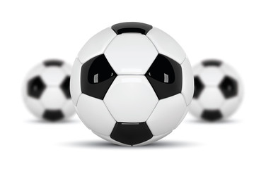 Realistic soccer balls or football ball on white background. Set of three 3d Style  Ball isolated on white background. Football design with blurred balls