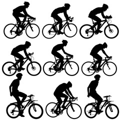 Set silhouette of a cyclist male on white background