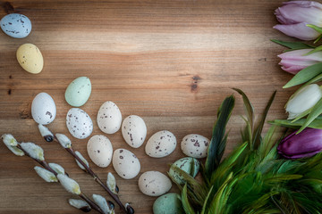 Easter decoration on rustic wood closeup flat lay