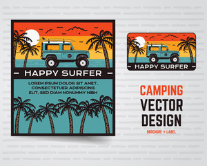Surf graphics poster and logo. Happy surfer sign. Surfing design for patch, t-shirt, prints. Stock vector illustration isolated on white background