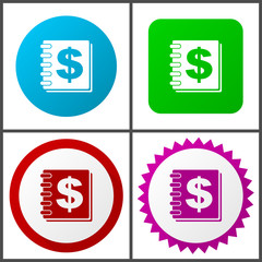 Money red, blue, green and pink vector icon set. Web icons. Flat design signs and symbols easy to edit