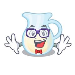 Geek Jug of milk isolated on mascot