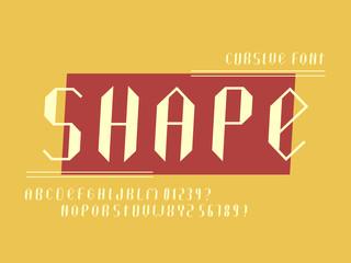 Shape cursive thin 3d font.