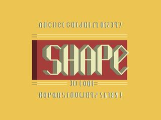 Shape 3d font. Vector alphabet