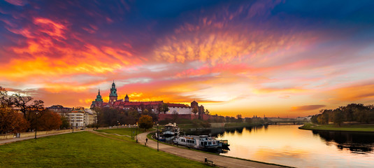 Royal Castle of Wawel by morning golden hour (panoramic)