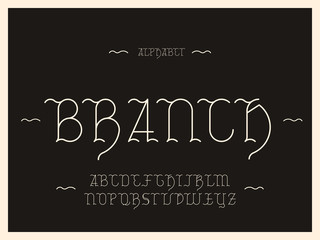 Branch alphabet. Vector letters.