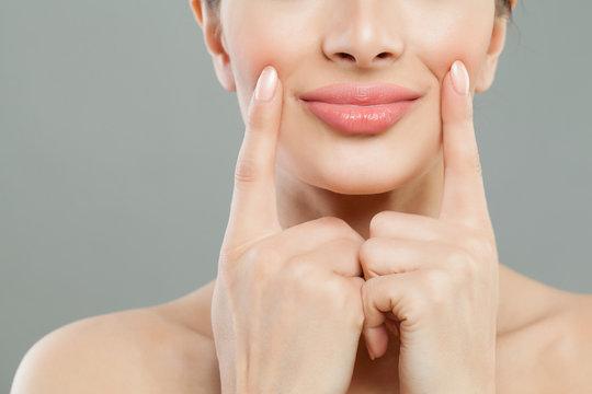 Beautiful pink female lips closeup