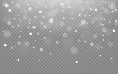 Seamless background with falling snow or snowflakes on transparent background, vector snow,