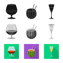 Isolated object of drink and bar symbol. Collection of drink and party stock vector illustration.