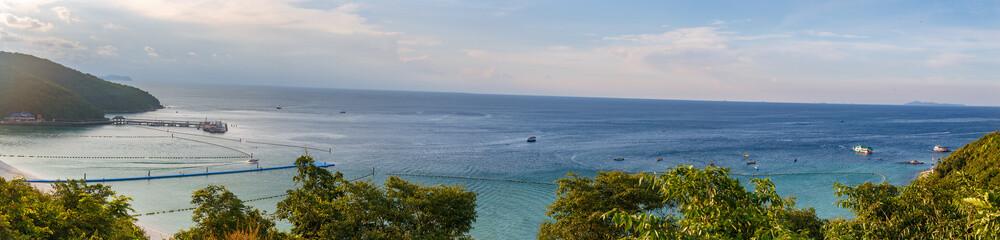 panorama view on Ko lan  harbor from the mount