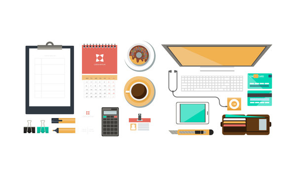 Office workplace, organization of working space, view from above vector Illustration