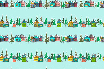 Vector seamless pattern hand drawn gingerbread multicolored houses on a blue background for bedding, textile, wallpaper, wrapping, cover page, web site, card, carton, typographic print, fabric.