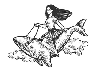 Sexy beauty girl riding whale flying through the sky vintage engraving vector illustration. Scratch board style imitation. Black and white hand drawn image.