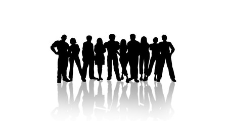 Group Of People isolated background black white