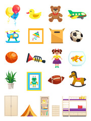 Children Room Interior Objects Set