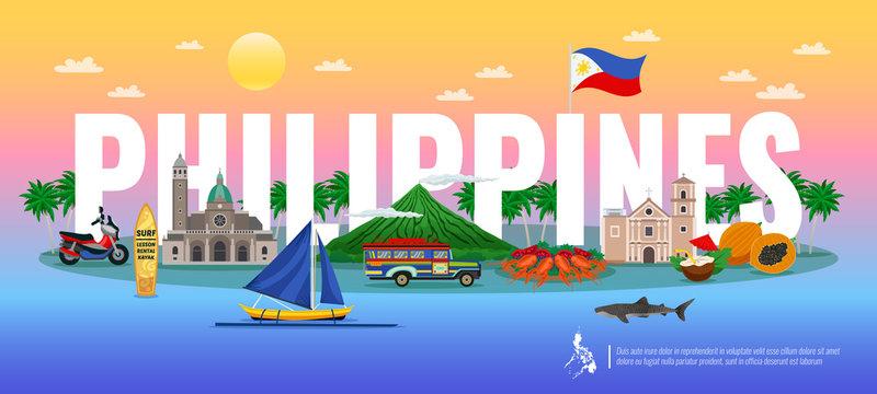 Philippines Horizontal Illustration