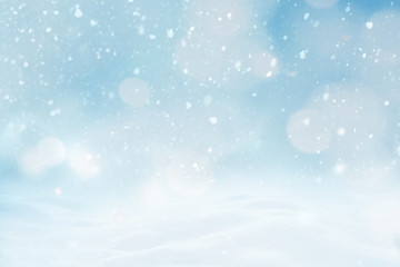 Abstract Christmas winter snowly Background