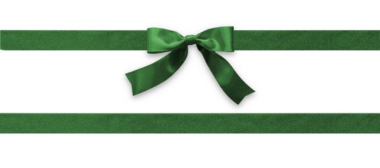 Green bow ribbon band satin emerald stripe fabric (isolated on white background with clipping path) for Christmas holiday gift box, greeting card banner, present wrap design decoration ornament