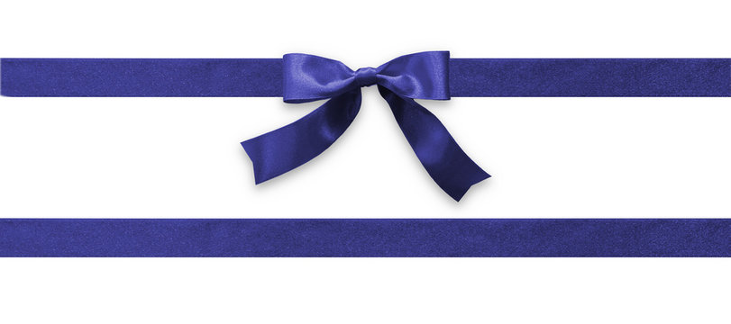 Dark blue bow ribbon band satin navy stripe fabric (isolated on white background with clipping path) for Christmas holiday gift box, greeting card banner, present wrap design decoration ornament