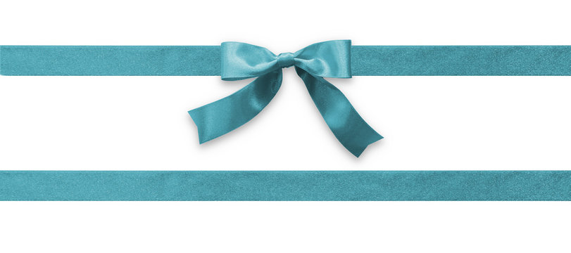 Teal bow ribbon band satin blue stripe fabric (isolated on white background with clipping path) for holiday gift box, wedding greeting card banner, present wrap design decoration ornament