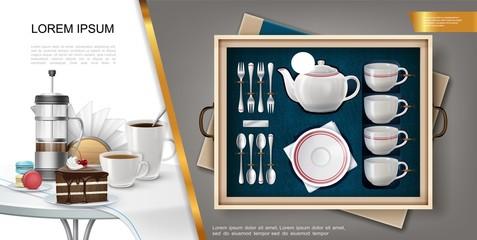Realistic Silverware And Kitchenware Concept