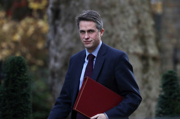 Britain's Secretary of State for Defence, Gavin Williamson arrives in Downing Street, London