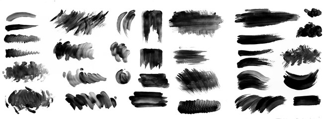 Brush strokes with watercolor paint