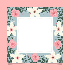 Floral greeting card and invitation template for wedding or birthday anniversary, Vector square shape of text box label and frame, Colorful flowers wreath ivy style with branch and leaves.
